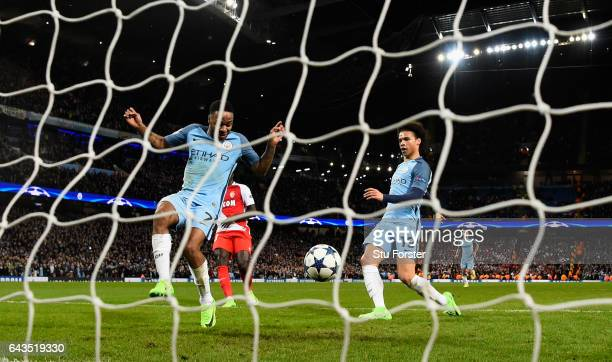 Manchester City player Leroy Sane scores the 5th City goal during the UEFA Champions League Round of 16 first leg match between Manchester City FC...