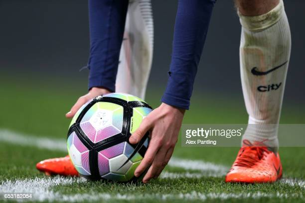 Manchester City player prepares to take a corner kick during the Premier League 2 match between Arsenal and Manchester City at Emirates Stadium on...