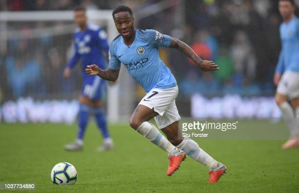 Manchester City player Raheem Sterling in action during the Premier League match between Cardiff City and Manchester City at Cardiff City Stadium on...