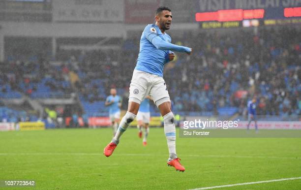 Manchester City player Riyad Mahrez celebrates after scoring his second goal during the Premier League match between Cardiff City and Manchester City...