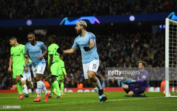 Manchester City player Sergio Aguero celebrates after scoring the second City goal during the UEFA Champions League Round of 16 Second Leg match...