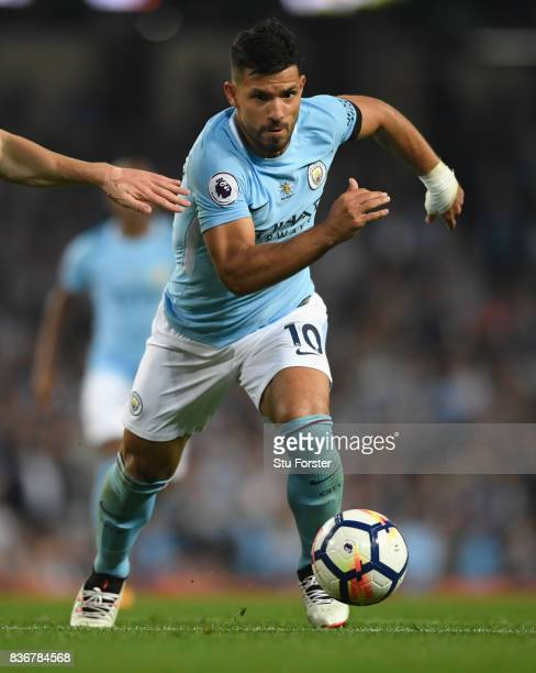 Manchester City player Sergio Aguero in action during the Premier League match between Manchester City and Everton at Etihad Stadium on August 21...