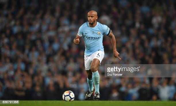 Manchester City player Vincent Kompany in action during the Premier League match between Manchester City and Everton at Etihad Stadium on August 21...