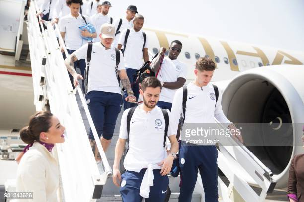 Manchester City players arrive at Abu Dhabi International Airport on March 13 2018 in Abu Dhabi UAE