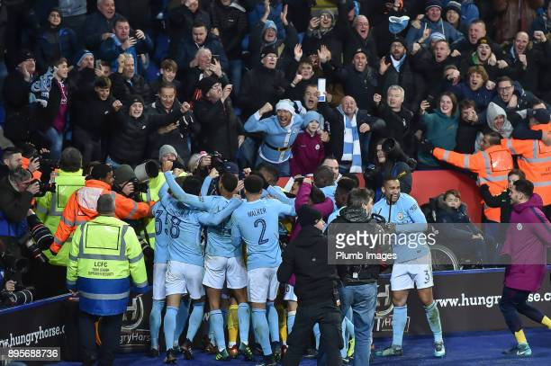 Manchester City players celebrate after the penalty shoot out after extra time of the Carabao Cup QuarterFinal match between Leicester City and...