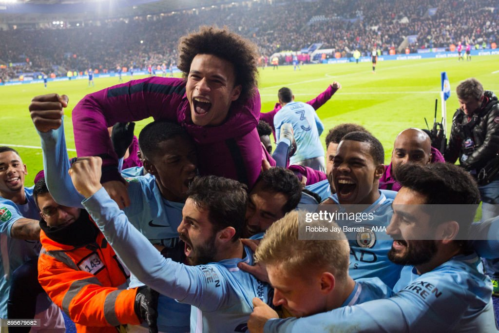Manchester City players celebrate at full time during the Carabao Cup Quarter-Final match between here Leicester City v Manchester City at The King Power Stadium on December 19, 2017 in Leicester, England.