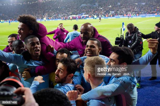 Manchester City players celebrate at full time during the Carabao Cup QuarterFinal match between here Leicester City v Manchester City at The King...