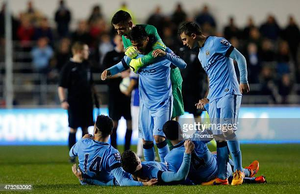 Manchester City players celebrate at the final whistle the Premier League International Cup Final match between Manchester City and FC Porto at the...