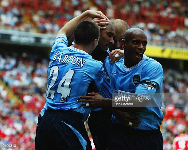 Manchester City players celebrate during the FA Barclaycard Premiership match between Charlton Athletic and Manchester City held on August 17, 2003...