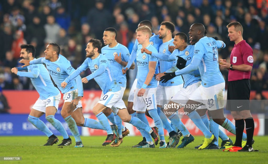 Manchester City players celebrate penalty shoot out victory during the Carabao Cup Quarter-Final match between Leicester City and Manchester City at The King Power Stadium on December 19, 2017 in Leicester, England.