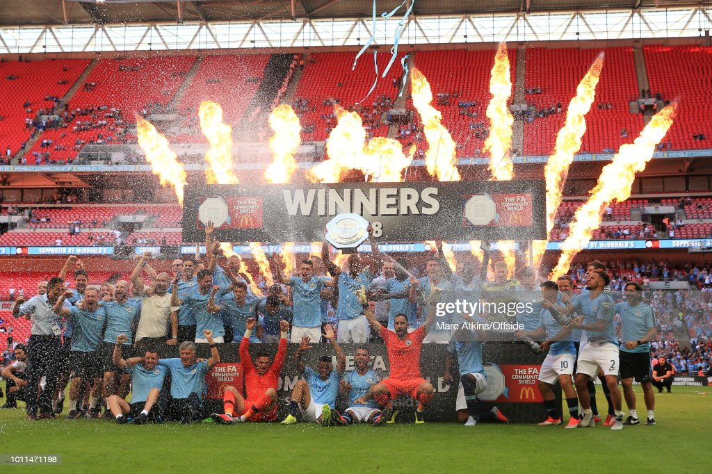Manchester City players celebrate win during the FA Community Shield between Manchester City and Chelsea at Wembley Stadium on August 5, 2018 in London, England.