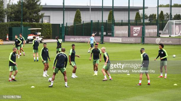 Manchester City players during training at Manchester City Football Academy on August 3 2018 in Manchester England