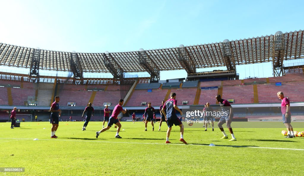Manchester City players during training at Stadio San Paolo on November 2, 2017 in Naples, Italy.