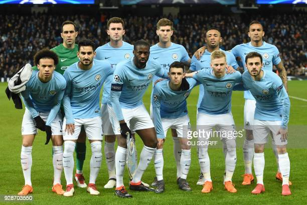 Manchester City players Manchester City's Chilean goalkeeper Claudio Bravo Manchester City's French defender Aymeric Laporte Manchester City's...