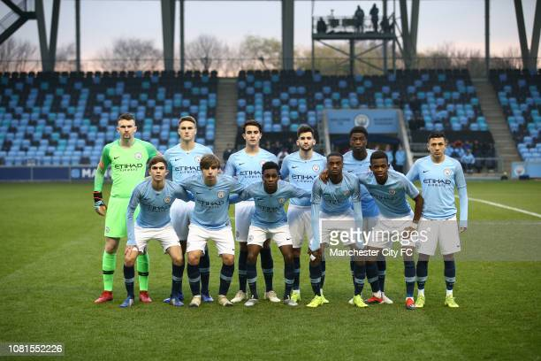 Manchester City players pose for a group picture during the UEFA Youth League Group F match between Manchester City and TSG 1899 Hoffenheim at...