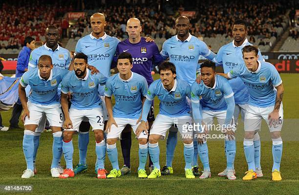 Manchester City players pose for a photo before the International Champions Cup football match against Italian side AS Roma in Melbourne on July 21...