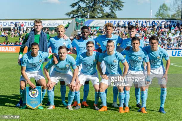 Manchester City players pose for team photo during the semifinal football match between Manchester City and FC Barcelona of UEFA Youth League at...