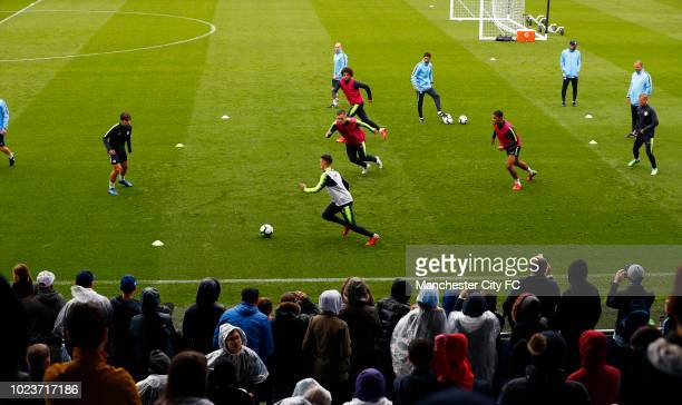 Manchester City players training during Manchester City Open Training Session at Manchester City Football Academy on August 26 2018 in Manchester...