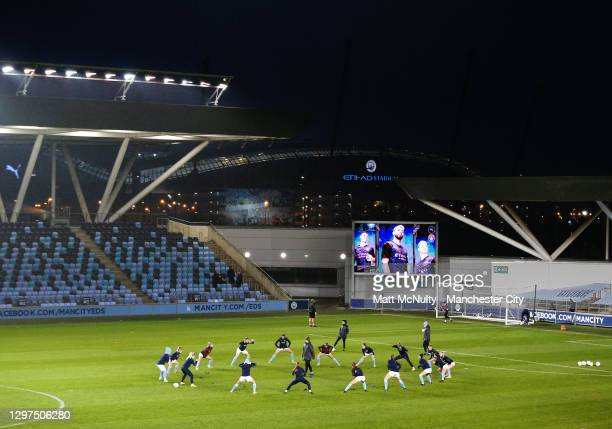 Manchester City players warm up during the FA Women's Continental League Cup Quarter Final match between Manchester City and Chelsea at Etihad Campus...