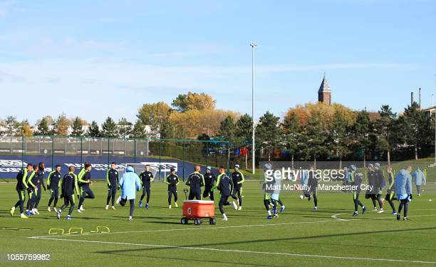 Manchester City players warm up during the training session at Manchester City Football Academy on October 31 2018 in Manchester England