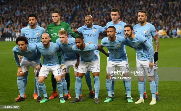Manchester City pose for a team photo prior to the UEFA Champions League Quarter Final Second Leg match between Manchester City and Liverpool at...