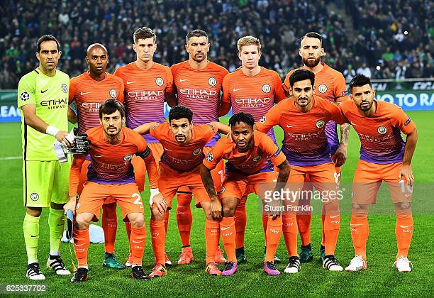 Manchester City pose for a team photograph before the UEFA Champions League match between VfL Borussia Moenchengladbach and Manchester City FC at...