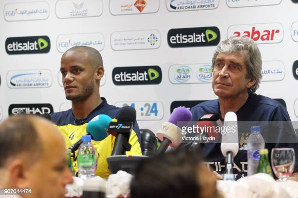 Manchester City Post Season Tour Day Three Abu Dhabi Manchester City manager Manuel Pellegrini and Vincent Kompany during a press conference at Al...