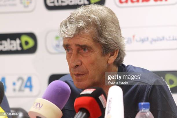 Manchester City Post Season Tour Day Three Abu Dhabi Manchester City manager Manuel Pellegrini during a press conference at Al Jazira Mohammed bin...