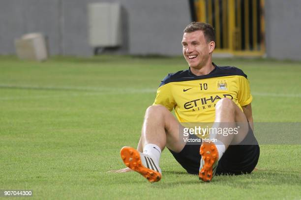 Manchester City Post Season Tour Day Three Abu Dhabi Manchester City's Edin Dzeko at open training at Al Jazira Stadium in Abu Dhabi as part of their...