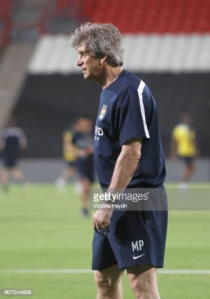 Manchester City Post Season Tour Day Three Abu Dhabi Manchester City's Manuel Pellegrini at open training at Al Jazira Stadium in Abu Dhabi as part...