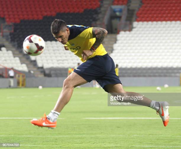 Manchester City Post Season Tour Day Three Abu Dhabi Manchester City's Stevan Jovetic at open training at Al Jazira Stadium in Abu Dhabi as part of...