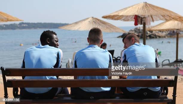 Manchester City Pre Season EDS Tour Novigrad Manchester City's Yvan Wassi Angelino Tsande and Bersant Celina at Novigrad beach during training in...
