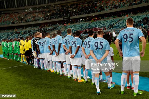 Manchester City Pre Season Tour Nelson Mandela Football Invitational AmaZulu v Manchester City Moses Mabhida Stadium Manchester City players line up...