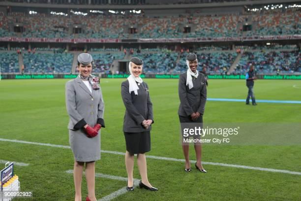 Manchester City Pre Season Tour Nelson Mandela Football Invitational AmaZulu v Manchester City Moses Mabhida Stadium Etihad air stewardesses before...