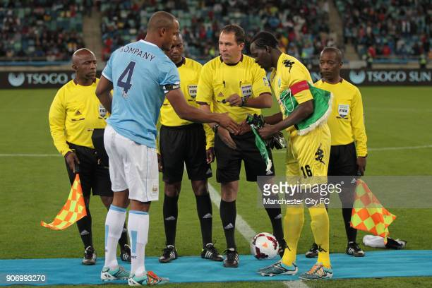 Manchester City Pre Season Tour Nelson Mandela Football Invitational AmaZulu v Manchester City Moses Mabhida Stadium Players from both teams shake...