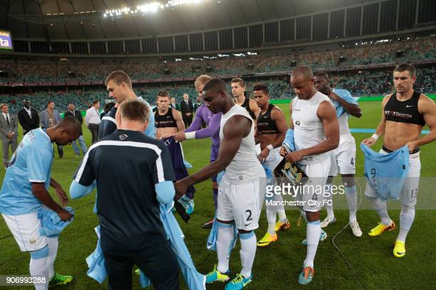 Manchester City Pre Season Tour Nelson Mandela Football Invitational AmaZulu v Manchester City Moses Mabhida Stadium Manchester City players receive...