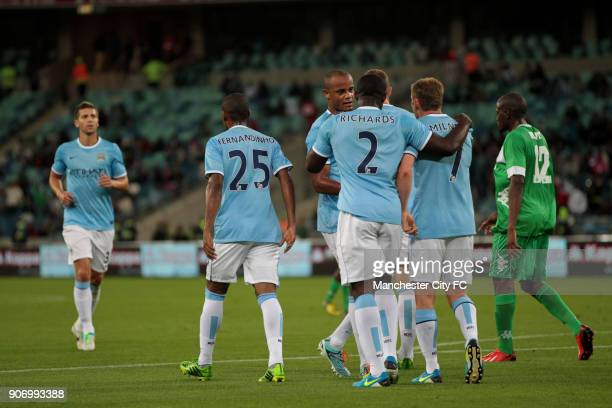 Manchester City Pre Season Tour Nelson Mandela Football Invitational AmaZulu v Manchester City Moses Mabhida Stadium Manchester City players celebrate