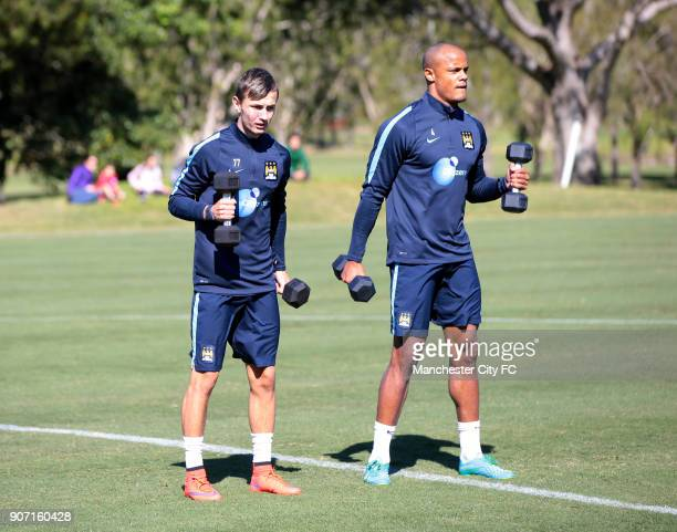 Manchester City Pre Season Tour of Australia Day Three Manchester City's Bersant Celina and Vincent Kompany during training