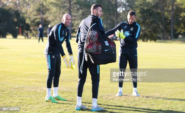 Manchester City Pre Season Tour of Australia Day Three Manchester City goalkeepers Willy Caballero Richard Wright during a training session