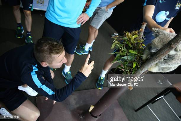 Manchester City Pre Season Tour of Australia Training Session Cbus Super Stadium Manchester City's Goerge Gledon poses with a Koala brought in by...