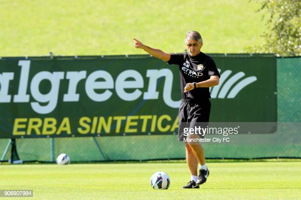 Manchester City Pre Season Training Camp Day Eleven Seefeld Austria Manchester City manager Roberto Mancini during training