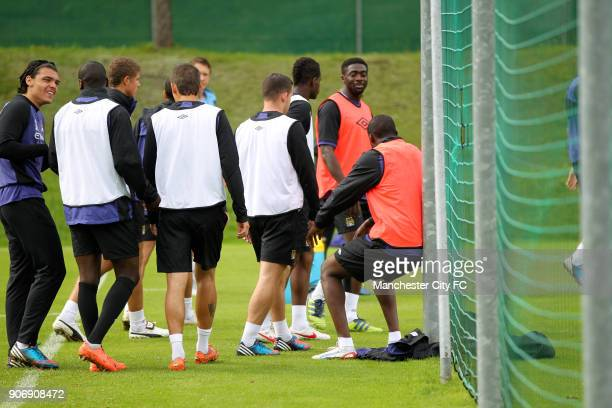 Manchester City Pre Season Training Camp Day Eleven Seefeld Austria Manchester City's Yaya and Kolo Toure share a joke during training