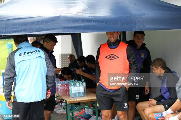 Manchester City Pre Season Training Camp Day Eleven Seefeld Austria Manchester City players shelter from the rain