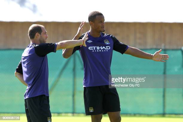Manchester City Pre Season Training Camp Day Eleven Seefeld Austria Manchester City's Pablo Zabaleta and Vincent Kompany during training
