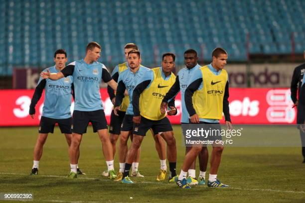 Manchester City PreSeason Tour South Africa Training Session Loftus Stadium Manchester City's Gareth Barry Edin Dzeko Javi Garcia Joleon Lescott...