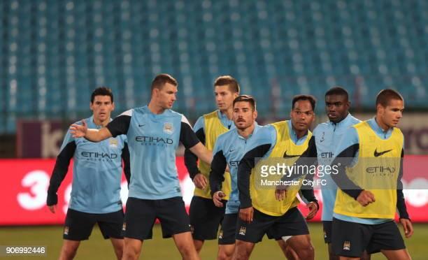 Manchester City PreSeason Tour South Africa Training Session Loftus Stadium Manchester City's Gareth Barry Edin Dzeko Matija Nastasic Javi Garcia...