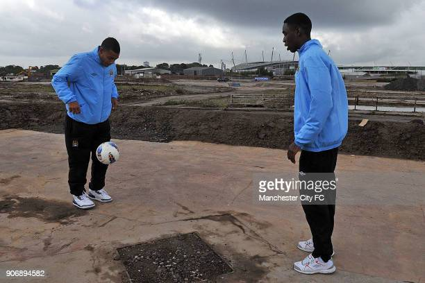 Manchester City Proposed New Youth Team Development and First Team Training Centre Manchester Manchester City's L to R Reece Wabara and Devante Cole...