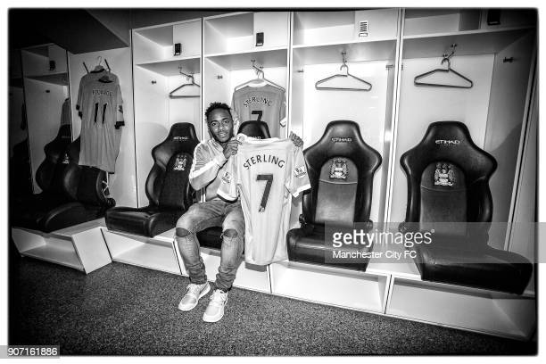 Manchester City Sign Raheem Sterling New Manchester City signing Raheem Sterling in the dressing room at the Etihad Stadium