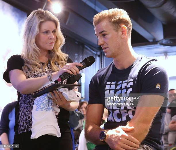 Manchester City Signing Session Etihad Stadium Manchester City's James Milner Nicola Macarthy and goalkeeper Joe Hart during a question and answer...