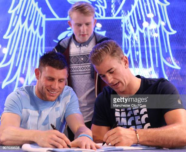 Manchester City Signing Session Etihad Stadium Manchester City's James Milner a fan and goalkeeper Joe Hart during a question and answer session at...